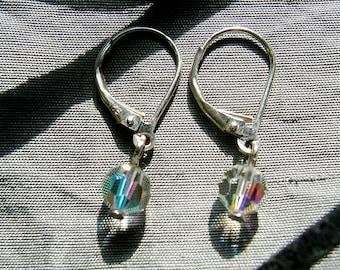 "Sterling Silver and Swarovski Crystal Leverback Earrings, ""Body Rock"""