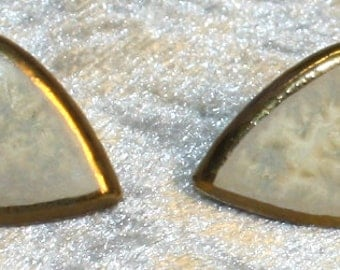 stud earrings ceramics white with golden edging