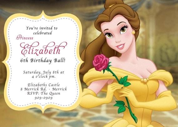 Custom photo invitations belle beauty the beast birthday like this item filmwisefo