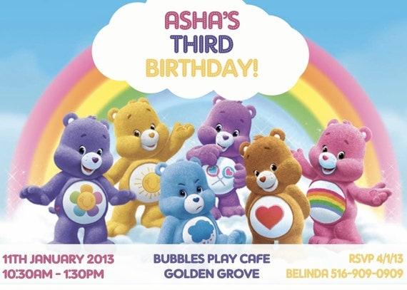 CUSTOM PHOTO Invitations Care Bears Birthday Invitation You – Care Bear Birthday Invitations