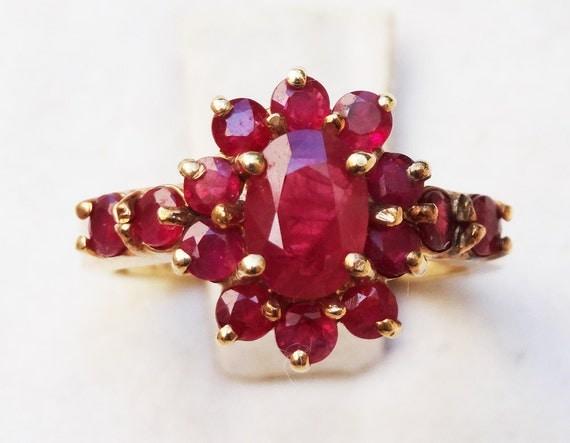 Estate Burma Ruby Ring 14K Gold Ring Vintage Pigeon Blood