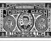 JOHNNY CASH and the Tennessee Two Handprinted Woodblock Poster