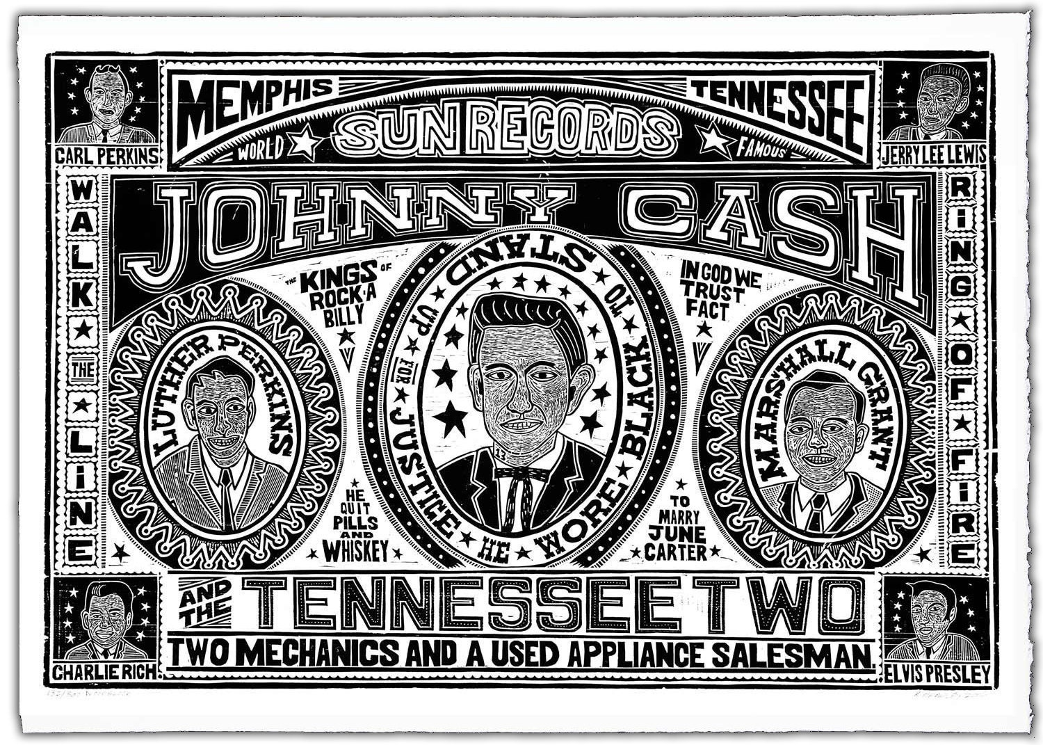 johnny cash and the tennessee two handprinted woodblock poster. Black Bedroom Furniture Sets. Home Design Ideas