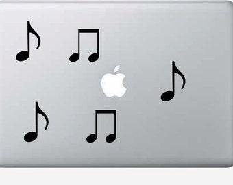 Music notes vinyl macbook decals - set of 5