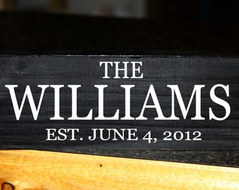 Family name wood block with established date