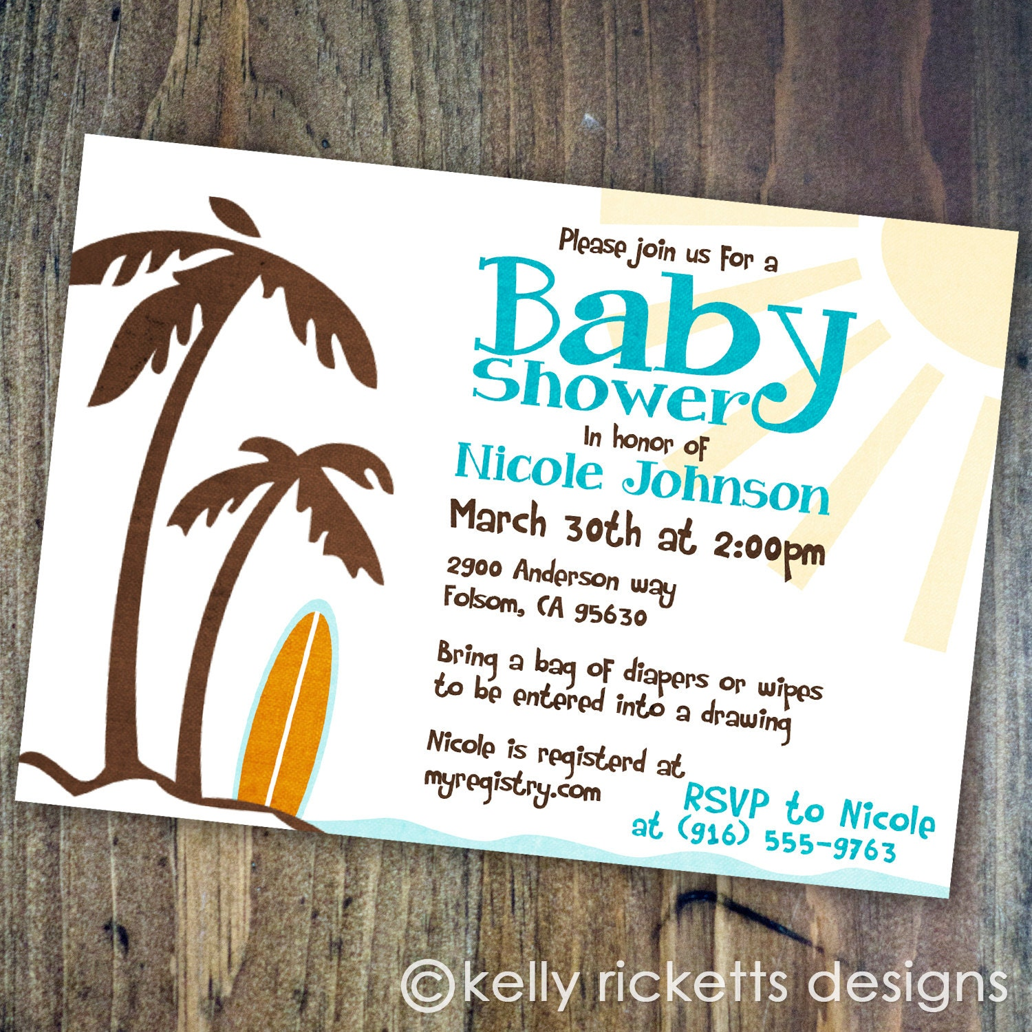 beach baby surfing shower invitations by kellyrickettsdesigns