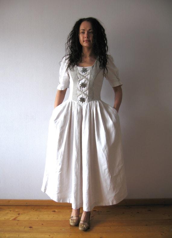 linen long dirndl dress white off alpen style edelweiss