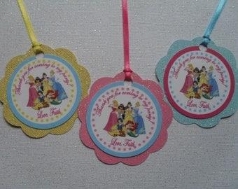 Princess Favor Tags, Princess Birthday, Princess Party, Princess Thank you, Princess Tags, Princess Decorations, Cinderella Tags