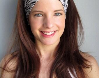 Polka Dot Headband, Black and White Polka Dot Headband, Stretchy Headband, Thick Headband, Yoga Headband, Cute Headband, Hippie Headband