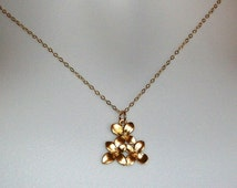 Flower Necklace - Gold Flower Necklace, gold, yellow, Gold Flower Cluster Necklace, Valentines Day, Bridesmaid Gifts, Weddings
