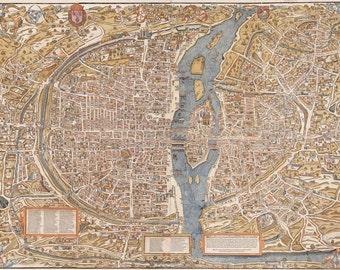 "Old map of Paris (1550) Paris map in 5 sizes up to 43""x60"" (109x152cm) Restoration Hardware Style Vintage map of Paris, France, Home Decor"