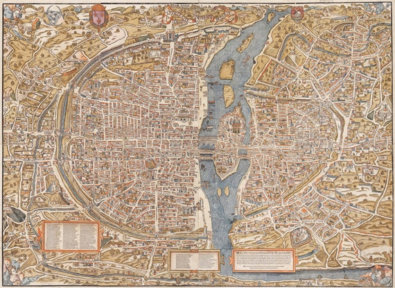 Old World Map Art. Like this item  Giant Vintage historic old world map of Paris France circa