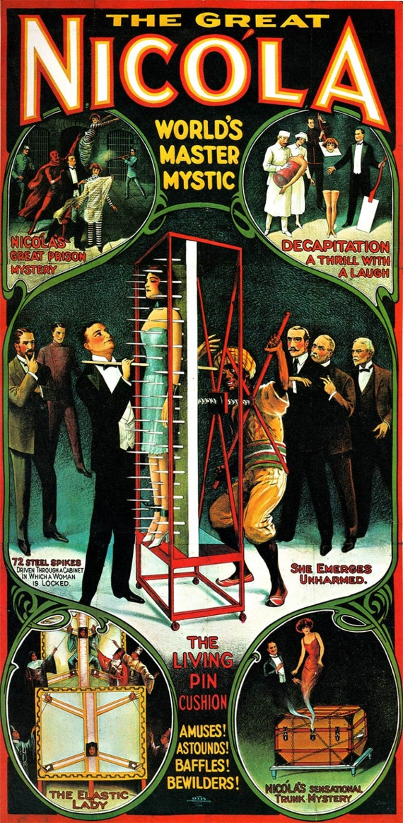 HUGE Vintage Nikola Worlds Master Mystic Magic Magician Poster 24 X 49 Fine Art Print Giclee