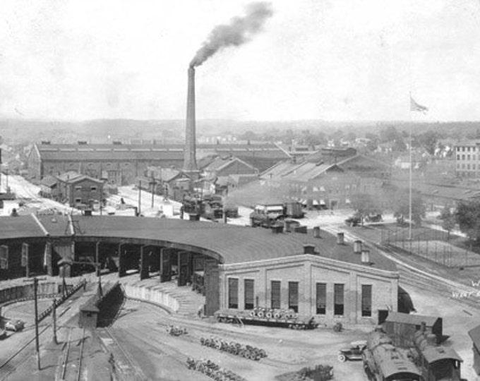 Railroad Train Photo Large Vintage Black & White 1923 photo Monon Shops Rail Yard Roundhouse Lafayette Indiana Trains Terminal Photograph