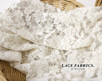 FREE SHIPPING Scalloped Lace Fabric by yard, Off White Scalloped Lace Cotton Fabric, Scallop Lace - 1 Yard style 282