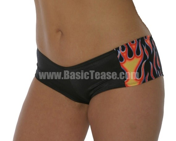 Two Color/Print Stripper Shorts for Exotic Dancers and Pole Fitness Class with Low Rise Cut