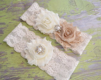 Rustic Wedding Garter, CHOOSE ANY COLORS Ivory Bridal Garter Set - Ivory Lace Garter, Toss Garter, Garters Shabby Chiffon Ivory,