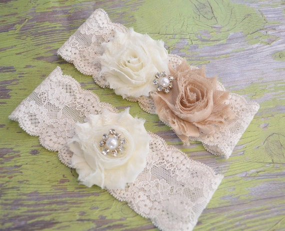 Rustic Wedding Garter CHOOSE ANY COLORS Ivory Bridal Garter