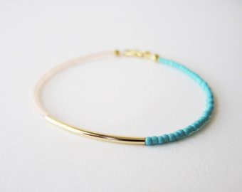 Gold bar bracelet - peach and Turquoise