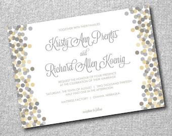 Personalized Printable DIY Wedding Invitation - Falling Dots - Modern Design, Unique
