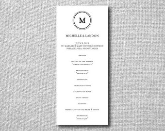 Printable Wedding Program - Wedding Program Template Download - Modern Monogram