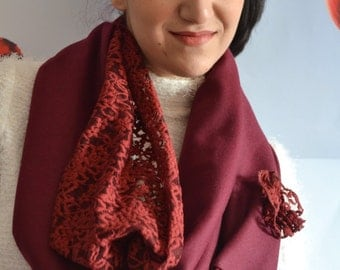 Bordeaux Scarf, Double Wrap, Fashion Scarf, Double Fabric Scarf, Lace Scarf,,Long Scarf, Winter Scarf, Handmade Scarf, Lace Scarf, Vine Gift
