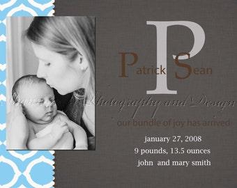 Baby Boy  Birth Announcement (Digital File) Patric Sean - I Design, You Print, Birth announcement