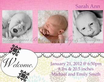 Baby Girl Birth Announcement (Digital File) Sarah Ann - I Design, You Print - Birth Announcement