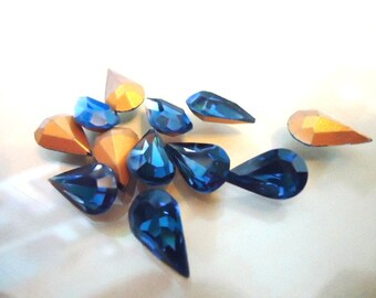Vintage Glass Teardrop Dark Blue colour foiled stone approx 13mm x 7.8mm glass jewels- 6 pieces Art No 308