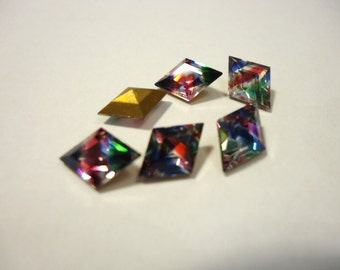 Vintage crystal Glass Diamond Shape Iris rainbow colour striped foiled rhinestones approx 10mm x 7mm- 6 pieces Art No 165/1