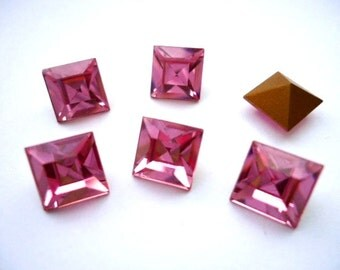 Vintage Glass Square Light Rose Pink colour foiled rhinestones approx 8mm glass jewels - 6 pieces