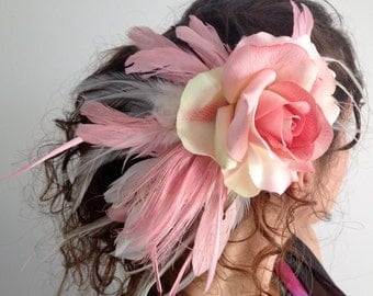 Blushing Rose and Feathers hair clip