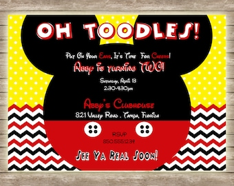 Mickey Mouse Oh Toodles Chevron and Polka Dot Birthday Invitation