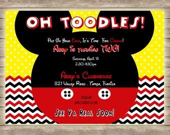 Mickey Mouse Oh Toodles Chevron and Polka Dot Birthday Invitation