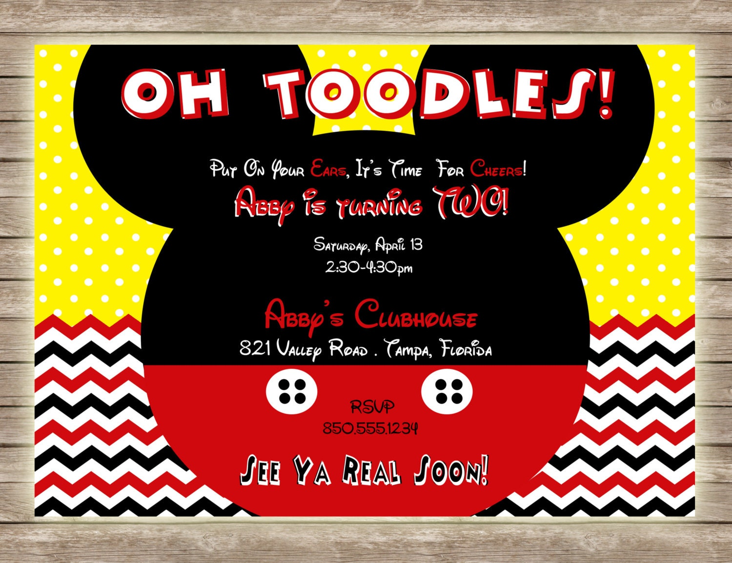 mickey mouse oh toodles chevron and polka dot birthday