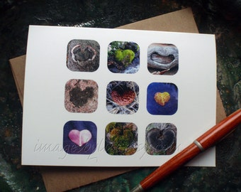 SALE Card, Heart Images found in nature. Blank-inside with envelope. Trees, moss, Valentine, love, thinking of you, congrats.