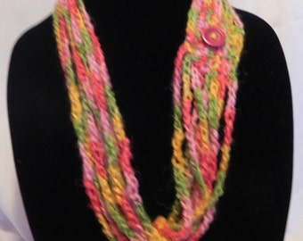 Crochet Chain Scarf Necklace Varigated with Button