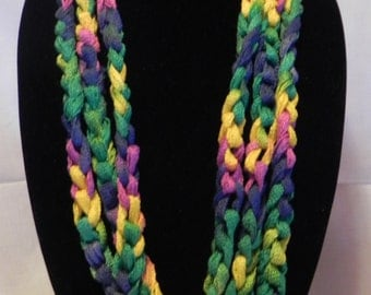 Chunky Crochet Chain Scarf/Necklace in Varigated Green, Navy, Yellow, and Pink