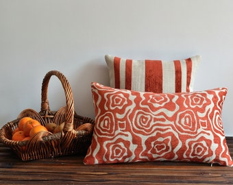 Orange Tribal Pillow Cover - 15x25 inches - Lumbar Pillow Cover - Throw Pillow Covers - Shabby Chic