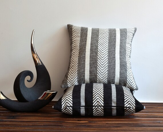 Modern Striped Pillow Cover 20x20 Pillows Grey And White