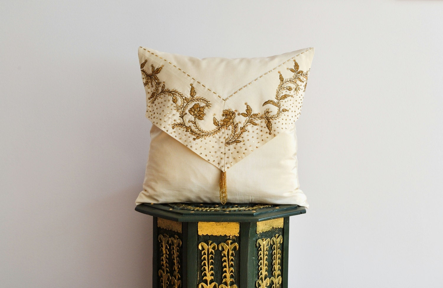 Silk Decorative Pillow Covers : Beaded Applique Silk Pillow Cover Decorative Pillow Cover