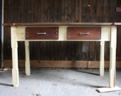 Reclaimed wood kitchen table - HoneyBadgerWoodworks