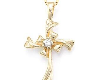 Diamond Cross Pendant, 14K Yellow Gold Cross Pendant, Ladies Fine Jewelry