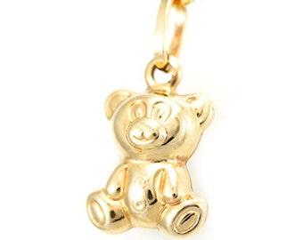Teddy Bear Gold Pendant, 14K Yellow Gold Pendant