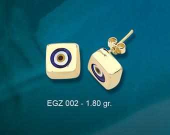 14K Solid Gold Evil Eye Good Luck Earrings EGZ002