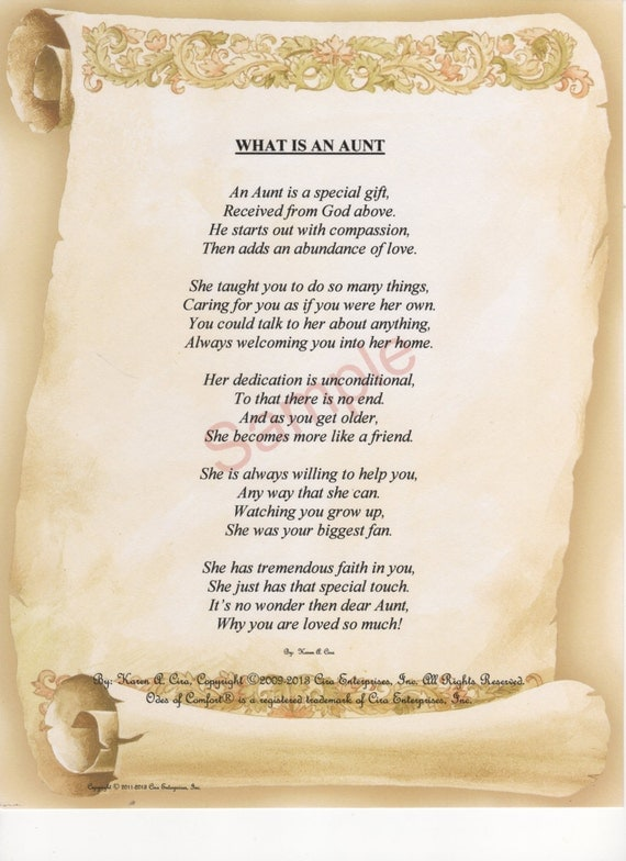 Five Stanza What Is An Aunt Poem Shown On Etsy