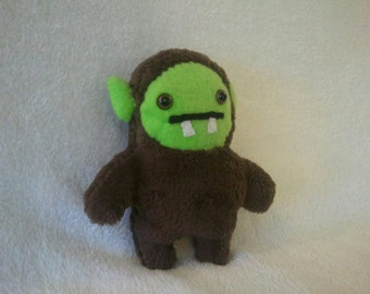 Handmade Green Face Monster Plush