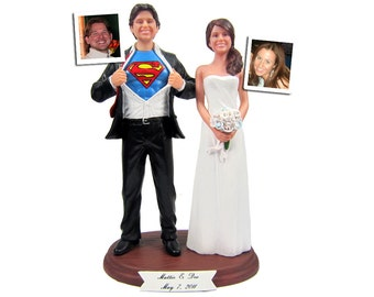Superman Groom with Your Choice of Bride Wedding Cake Topper