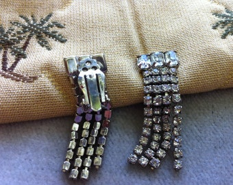 Vintage Rhinestone Fancy Clip Earrings