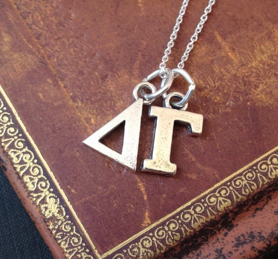 Items similar to delta gama greek letters charm necklace for Sorority necklaces letters